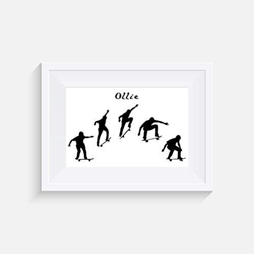 Skateboard Ollie Zitat Inspirier - Drucken - Poster - Graustufen - Wandkunst- verschiedene Größen(Rahmen Nicht Inbegriffen)