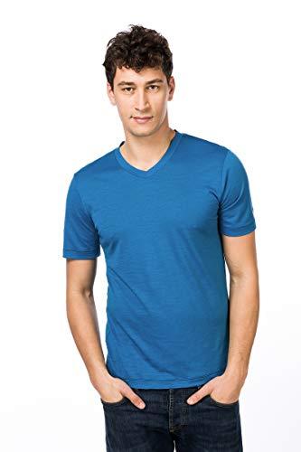 super.natural Dünnes Herren Kurzarm T-Shirt, V-Ausschnitt, Mit Merinowolle, M BASE V NECK TEE 140, Größe: M, Farbe: Blau/Dunkelblau