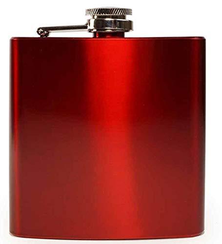 Edelstahl Zeitnah Hochwertiger Flachmann Hip Flask 6oz Für Alkohol Whisky / Vodka / Gin - Rot