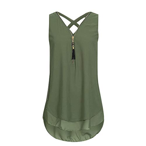 TBKOMH Women Loose Sleeveless Casual Tank Top Cross Back Hem Layed Zipper V-Neck T Shirt Tops(Green, XL)