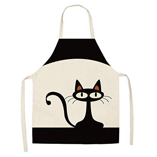 Ogquaton Delantal de cocina con diseño de gatos y animales para cocinar, ideal para cocinar, jardinería, parrilla, 1 unidad, práctico y popular