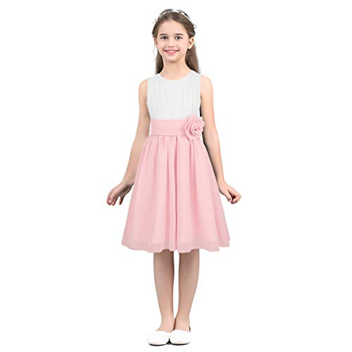 Agoky Vestido Floreado de Princesa Fiesta para Niñas Sin Mangas Traje de...