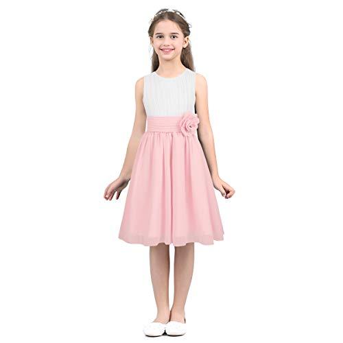 IEFIEL Vestido Elegante de Fiesta Boda Dama de Honor Gasa Vestido Blanco de Flores Princesa Vestido de Ceremonia Cumpleaños para Niña Chica 4-14 Años Rosa 10 años
