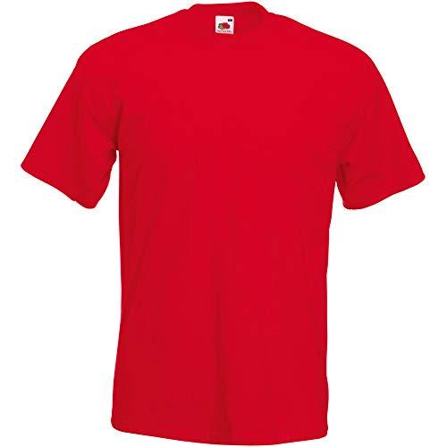Fruit of the Loom Valueweight-T-Shirt für Männer, kurze Ärmel, Rundhalsausschnitt (kein V-Ausschnitt) Gr. XXXL, rot