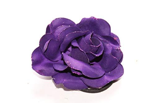FreshFunkyFashion - Broche para mujer, diseño de flores, color morado oscuro