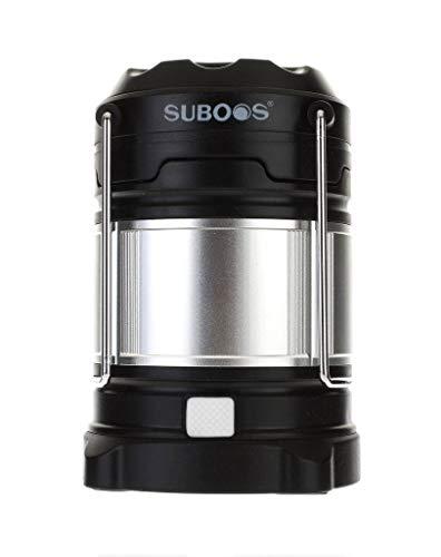 SUBOOS Lampe LED intégrale et rechargeable, banque de puissance 5200 mAh - 4 modes d'éclairage - compacte et pliable - résistante à l'eau IPX5 - superbe éclairage pour camping, randonnée, grenier, abri de jardin, en cas de coupures de courant - 2 options de batterie (toutes les piles incluses), noir