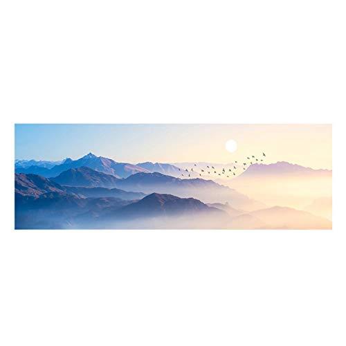 Impresión en lienzo Puestas de sol Paisaje de pájaro de montaña natural Pintura abstracta Carteles e impresiones Imagen de arte de pared Sala de estar Decoración 50x150cm / 19.6 'x59.1' Sin marco