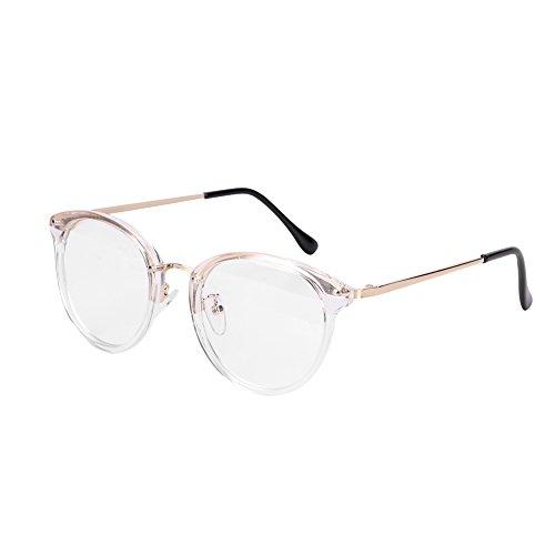 Brille Metallrahmen Brillengestelle Ohne Sehstärke Runde Pantobrille Streberbrille Fensterglas Nerdbrille Damen Herren Ebenenspiegel Brillefassung mit Nasenpad Winddicht Leicht Vintage Transparent