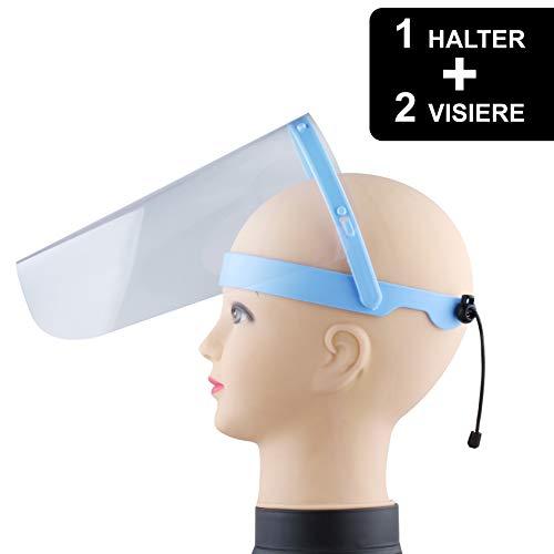 Visier Gesichtsschutz verstellbar - Klappvisier aus robustem Kunststoff – Face Shield - 2 Visiere + 1x Halterung – Schutzschild Gesicht - klare Sicht - frei von Kratzer