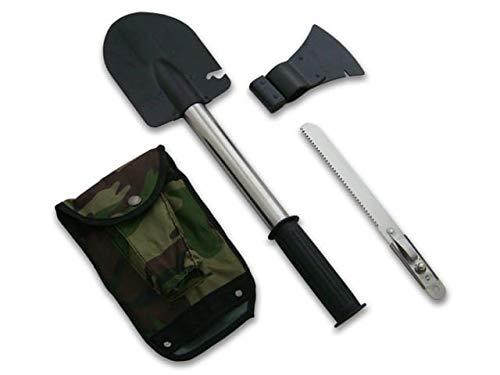 KOSxBO® XXL Set 3 in 1 Multitool - Militär BW klappbar Klappsparten inklusive Säge, Axt und Camouflage Tasche