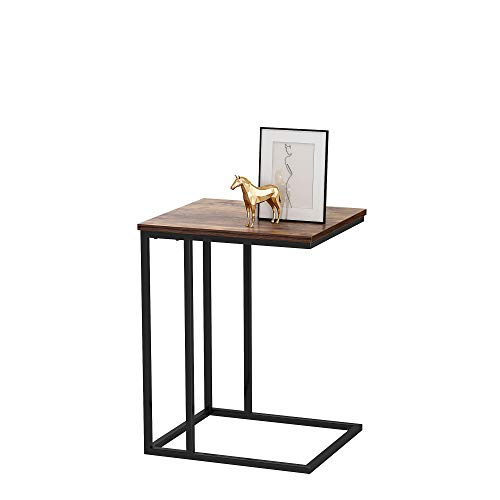 HOMEFORT Sofa Side End Table, Industrial Side Table, C Shaped Table, Coffee Tray Side Desk, Beside Bed Sofa Portable Workstation, Laptop Holder Table, Wood Tabletop with Sturdy Metal Frame(Black)