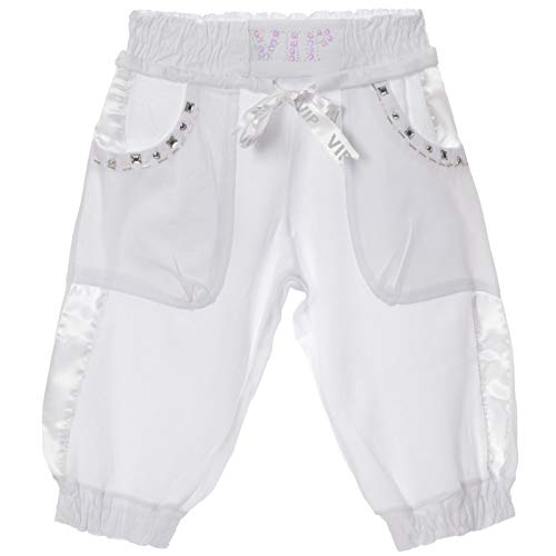 Mädchen Bermud Kurze Capri Stoff Pump Hose elastischer Bund Perlen 21415 Weiß 128
