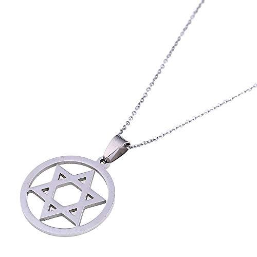 YHHZW Collar de plata hexagrama collar Magen David collar islam árabe judía estrella joyería