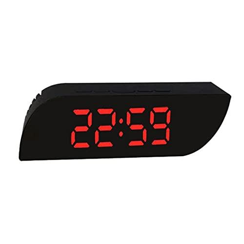 Kfhfhsdgsanz Despertador, Reloj de Alarma de Espejo Trapezoidal Digital Mirror Reloj de Pared Pantalla de Temperatura Reloj de Alarma Decoración del Reloj de casa (Color : Red)