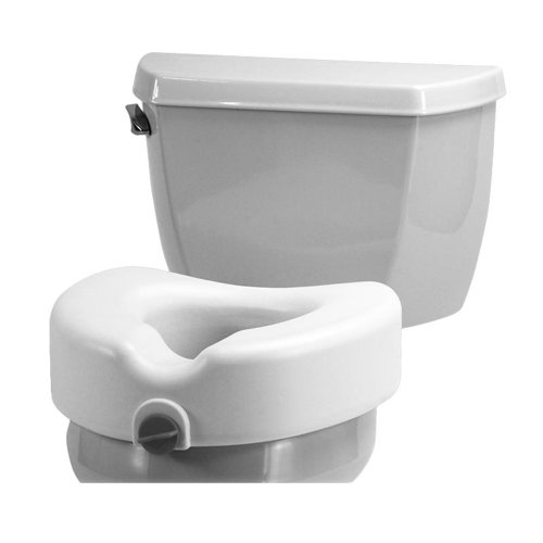 """NOVA Medical Products NOVA Elevated Raised Toilet Seat with Removable, Adjustable Padded Arms, 20"""" Width Between Arms, Locking, Easy On and Off, for Standard and Elongated Toilets, White"""