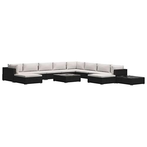 Festnight 12-delige Loungeset met kussens poly rattan Fauteuil fauteuil sofa lounge familie woonkamer theater stoelen zwart