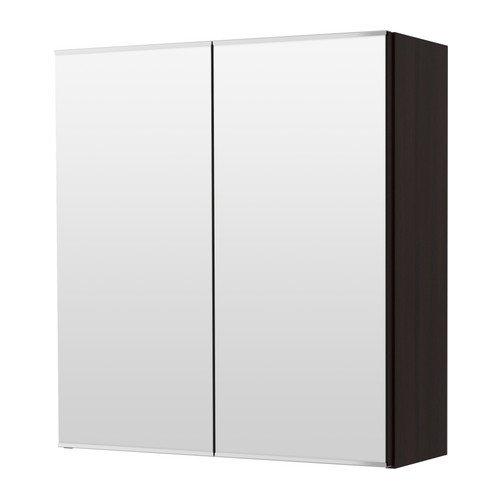 Brand New LILLÅNGEN Spiegelkast met 2 deuren, zwart-bruin zwart-bruin