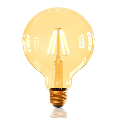 ilumini Bombilla LED G125 VINTAGE COBRE FILAMENTO, CASQUILLO E27, 6.5W equivalente a 50W, 3000K Luz Cálida, 650 Lúmenes [Clase de eficiencia energética A+]