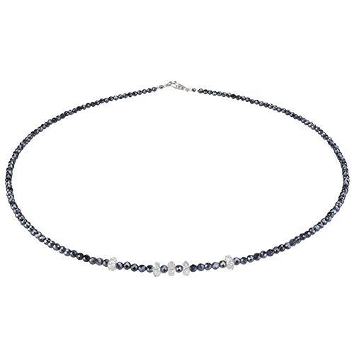 Funk-Collier Edelstein Kette Herkimer Diamant mit facettiertem schwarzem Spinell, Diamant-poliert