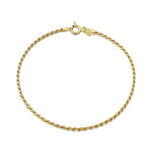 Amberta Gioielli - Bracciale - Catenina Argento Sterling 925 - Placcato Oro 18K - Modello Corda - Larghezza 1.5 mm - Lunghezza: 18 cm