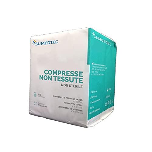 Sumedtec - 100 di garza non sterili in TNT 7,5 x 7,5cm 4 strati scatola con 100 unità CE, prodotto in UE.