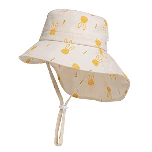Comhats Kinderhut Babyhut Buckethut Strandhut für Mädchen Jungen Kind Kleinkind Fishermütze Breite Krempe Anglerhut mit Hase Druck Sonnenhut Angelnhut UV-Schutz Beige 53cm