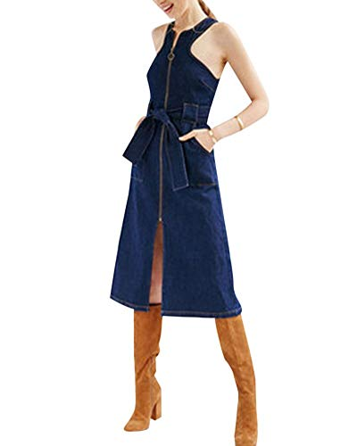 HX fashion Dames Zomer Denim Jurk Mouwloos Comfortabele Maten Off Shoulder Slank Knielengte A-Lijn Denim Overhemdjurk Blousejurk Elegant Vintage Modieus Casual Jurken