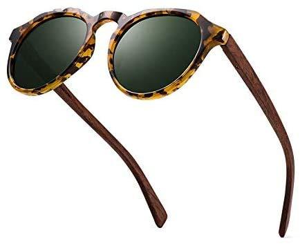 UKKD Gafas De Sol Para Mujer Gafas De Sol De Madera Gafas De Sol Polarizadas Mujeres Hombres Vintage Redondo Gafas De Sol Señoras Femme Uv400