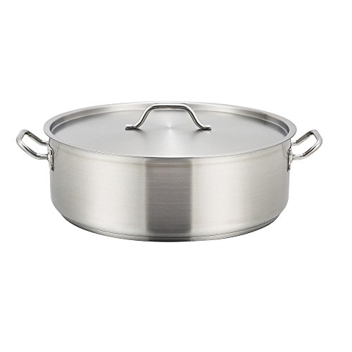 Winco SSLB-25, 25-Quart Stainless Steel Brazier Pan With Lid, Cooking Pan with Cover