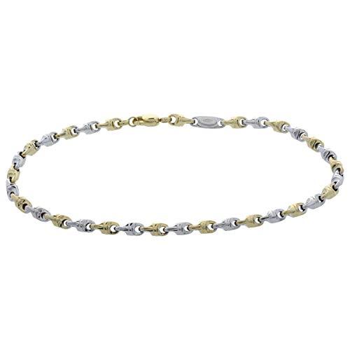 Bracciale link in oro bianco e giallo - Gioiello Italiano