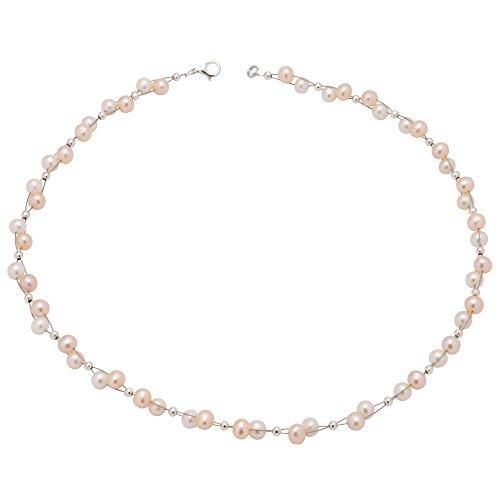 Kette Collier aus Perlen Süßwasserperlen weiß rose zarte Perlenkette Damen