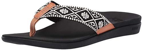 Reef Women's Ortho Woven Sandal, Black/White, 9