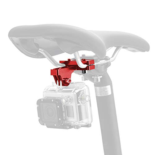 ParaPace Bicycle Saddle Rail Camera Mount Bike Seat Mount for GoPro Hero 8/7/6/5s/5/4s/4/3+ Campark AKASO DJI OSMO Action Cameras Accessories(Red)
