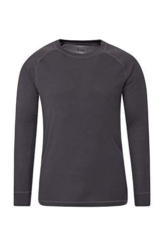 Mountain Warehouse Talus Mens Thermal Baselayer Top - Quick Drying Winter Jumper, Easy Care, Long Sleeves, Sweater, Breathable, Lightweight & High Wicking Dark Grey L