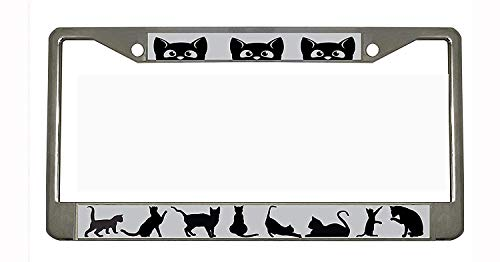CAT Chrome Metal Auto License Plate Frame Car Tag Holder