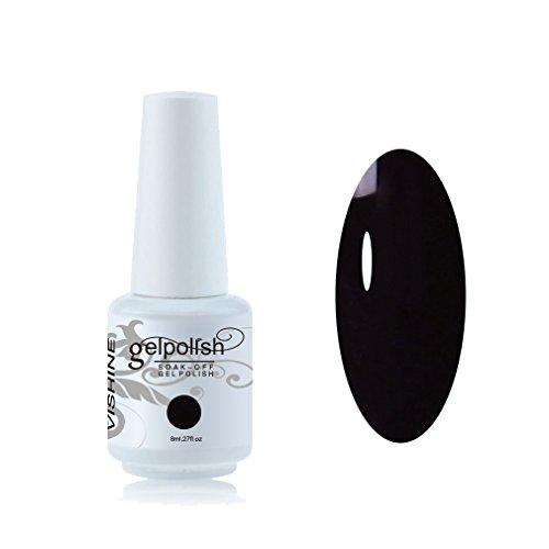 Vishine Vernis à ongles Semi-permanent Soak Off UV LED Gel Polish Nail Gel Manucure 8ml Noir #687