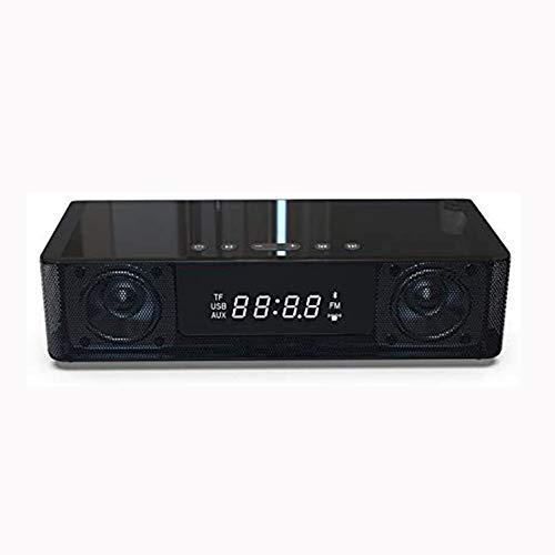 SETSCZY Radio Reloj Despertador de Cabecera, Altavoz Bluetooth de Carga Inalámbrica Radio FM Reloj Despertador Dual/Altavoz USB Bluetooth NFC