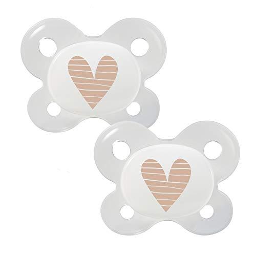 Dentistar® Silikon Schnuller 2er Set mit Kappe - Größe 0 - für Babies ab 0-2 Monaten - Baby Nuckel mit Dentalstufe für Neugeborene - zahnfreundlich - Made in Germany - BPA frei - Herz beige