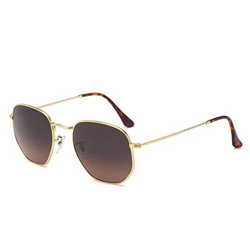 HAISERVEN Octogonal Gafas de Sol clásicas de Las Mujeres de los Hombres de 53 mm Lente de Cristal Cristal Espejo Escudo Gafas de Sol UV400 Gafas de Sol (Color : Brown)