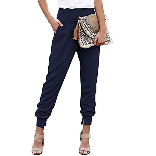 Pantalones De Nueve Puntos De Cintura Alta De Color SóLido para Mujer De Color SóLido De OtoñO E Invierno