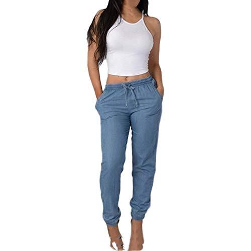 U/A - Pantalones de verano para mujer, cintura elástica, casual, cintura alta, pantalones azules casuales Azul azul XL