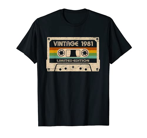 Vintage 1981 Limited Edition Cassette T-shirt for 40th Birthday, Many Colors for Men and Women