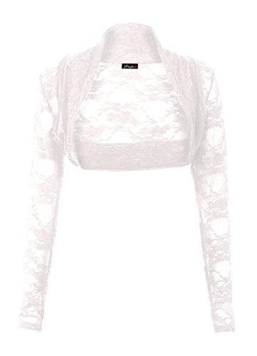 Fast Fashion Frauen Shrug Lange Ärmel Blütenspitze Vorne Offen Bolero
