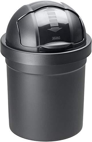 Rotho Roll Bob runder Mülleimer 10l mit Deckel, Kunststoff (PP) BPA-frei, schwarz, 10l (26,5 x 26,5 x 39,5 cm)