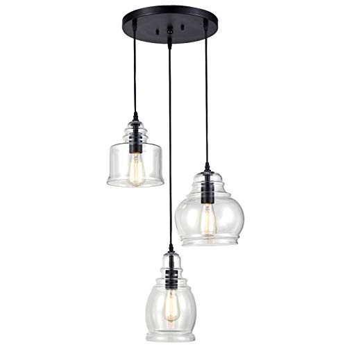 CLAXY Ecopower Vintage Kitchen Linear Island Glass Chandelier Pendant Lighting Fixture-3 Lights