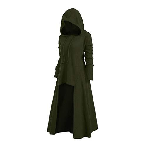 Mxssi Vintage Halloween Renaissance Mittelalter Kleid mit Kapuze Damenkostüm Retro Langarm Abendkleid Kostüm Lang Pullover Midikleid Plus Größe Gr. Large, grün