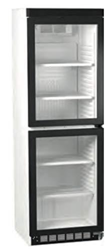 Frigorífico con puerta de cristal dividida de 2 puertas, frigorífico de botellas para bebidas, frigorífico industrial, 379 litros, 595 x 605 x 1832 mm
