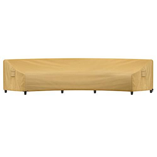 Sunkorto Funda de sofá curvada para patio, cubierta impermeable para muebles al aire libre con rejillas de ventilación y dobladillo de cuerda de dibujo