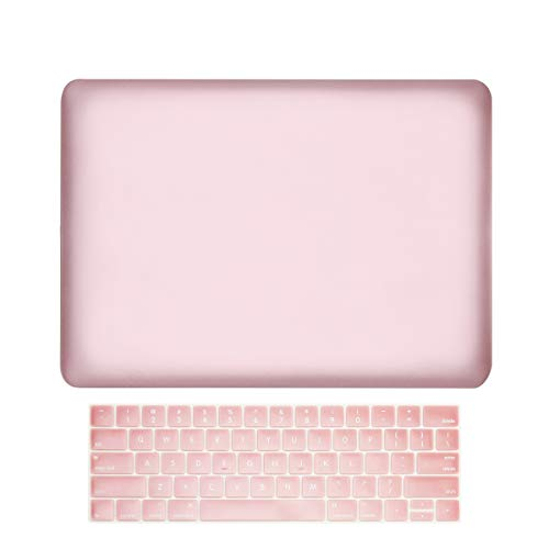 TOP CASE MacBook Pro 15 inch Case 2019 2018 2017 2016 Release A1707 A1990, 2 in 1 Signature Bundle Rubberized Hard Case + Keyboard Cover Compatible MacBook Pro 15' Touch Bar - Rose Gold