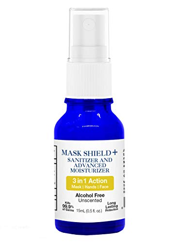 SOWL Mask Shield + Sanitizer and Advanced Moisturizer Spray - 3-in-1 Action, Alcohol-Free Formula - 15mL, Unscented